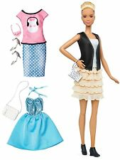 Barbie Fashionista Tall Blonde Doll with 2 Additional Outfits, Black/Grey/Blush