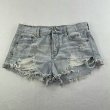 American Eagle Shorts Womens 4 Blue Jean Distressed Light Wash Ladies
