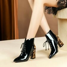 Ladies Block High Heels Leopards Ankle Boots Poined Toe Lace Up Fashion Shoes UK