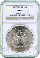 1977 SILVER FRENCH 50 FRANC - HERCULES - NGC MS64 - VERY RARE - ONLY 28 EXIST