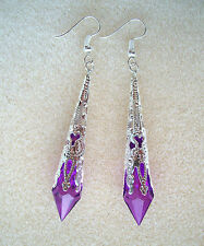 Beautiful Purple Faceted Teardrop Silver Filigree Drop Earrings in Gift Bag