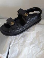 NIB 2020 Chanel black Dad leather sandals 41 EUR size