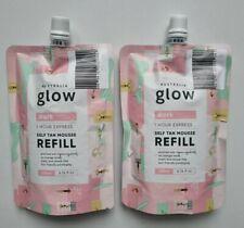 2 x Australian Glow 1 Hour Dark Self Tan Mousse 200ml REFILL Eco Friendly Pack