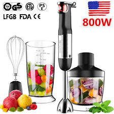 800W 4 in 1 Electric Immersion Hand Blender Set 9 Speed Kitchen Food Stick Mixer