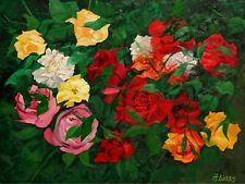 Still Life Flowers Spring Floral Garden Roses ORIGINAL OIL PAINTING Andre Dluhos