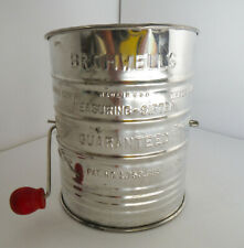 VINTAGE BROMWELL'S MANUAL FLOUR SIFTER - SIZE: 3 CUP MEASURE WITH RED WOOD KNOB