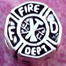 NY Firemen 911 Heroes Fire Department RESCUE BADGE Bead European Bracelet Charm