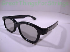 """Real D 3D Glasses Video Movies Black Thick Frame 6"""" Long Retro Style"""