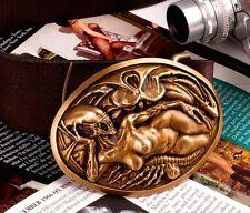 COOL Bronze AVP Alien Queen Men Belt Buckles Cowhide Leather Handmade OP103