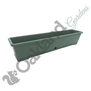 2 x 80cm Trough Planter Window Box Versilia Pot Green Drip Saucer Plant