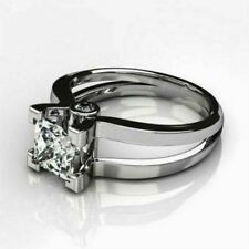 Solitaire 2.95Ct White Princess Diamond Engagement Wedding Ring 14K White Gold