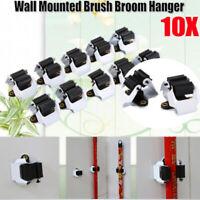 10Pc Hooks Mop Broom Holder Wall Mounted Clip Brush Handle Hanger Storage Rack