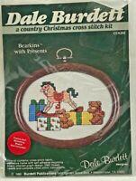 1986 Vntg NIP Dale Burdett Counted Cross Stitch Kit Bearkins With Presents 8396