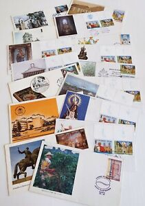Colombia FDC Cover Lot of 17 Colombia Stamps Pictorial Cancels Religious Pope