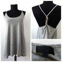 S'Nob Womens Tunic Strappy Top Vest Grey Size M Snake Pharmacy Racer Back Casual