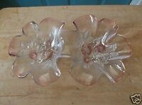 Pink Glass Two Sided Serving Bowl with Pink and Frosted Glass Dogwood Design