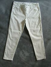 CACHE Size 6 White Skinny Jeans Bling Sides