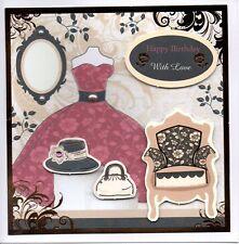 Ladies Happy Birthday Card-handmade-bellissimo vestito, Farfalla, Somebunny