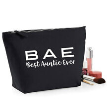 Best Auntie Ever BAE Make Up Bag/Cosmetic case, Gift for Aunt, Black/Navy/Beige