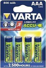 4x Varta 56703 agli ioni litio Ni-MH Micro AAA 800mAh Ready2Use