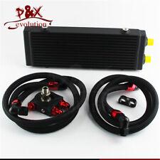 "Medium 14"" Dual Pass Bar & Plate Oil Cooler thermostatic Filter Adapter Hose Kit"