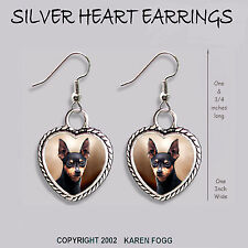 Miniature Pinscher Dog Black - Heart Earrings Ornate Tibetan Silver