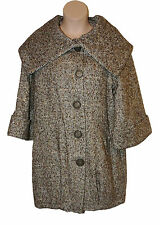 BNWT size 14 PER UNA by M&S Ladies TWEED Coat with WOOL & Large Collar in Choc