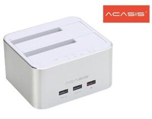 New Acasis DS-P2U3CH USB 3.0 to SATA Dual Docking Station, USB Hub, Clone
