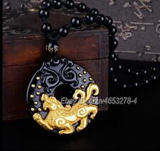 18K Gold Inlay Natural Obsidian Carved PiXiu Lucky Pendant + Beads Necklace