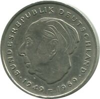 2 MARK 1971 J HAMBURG T.Heuss BRD Germany #DE10369.5DW
