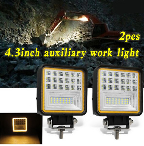 "2Pcs 4.3"" 126W LED Work Light Flood Driving Fog Lamp DRL for Offroad Car Truck"