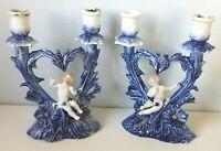 Antique Porcelain Cherub Figures Candle Stick Holder Cobalt Flow Blue Pair Heart