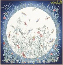 """GUCCI blue MOONLIGHT FIELD flowers & dragonflies silk 35"""" Scarf NWT Authent $440"""