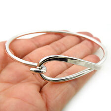 Large Solid HM Hallmarked Sterling 925 Silver Curved Loop Bangle