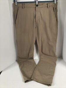 Lululemon Mens Commission Travel Commuter Pants Size 36x30 Beige Slim Fit