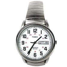 Timex Indiglo WR 30m Wrist Watch Day Date White Face Speidel Band Stainless FLAW
