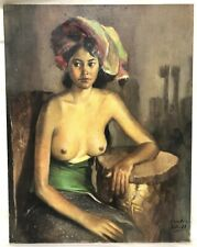 Vintage Oil on Canvas Naked Woman Portrait