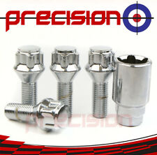 Chrome Locking Wheel Nuts Bolts and Key for Fiat Punto 2006 onwards