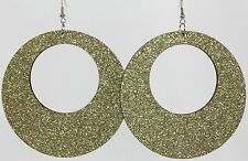 "Glitter Huge 3"" Sparkly Door Knocker Dangle Hoop Earrings Gold Lightweight Wood"