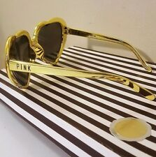VICTORIA'S SECRET PINK GOLD TONE HEART SHAPED SUNGLASSES BRAND NEW