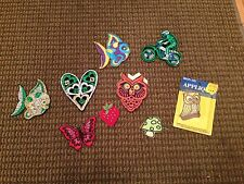 VINTAGE HIPPIE MUSHROOM OWL FISH BUTTERFLY STRAWBERRY MOTOCROSS PATCHES LOT