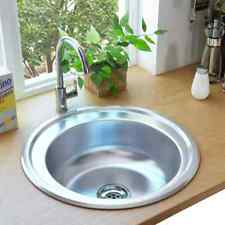 vidaXL Kitchen Sink with Strainer and Trap Stainless Steel Single Bowl Basin