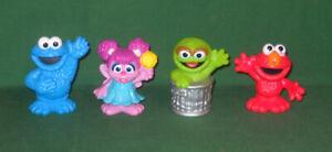 "4 HASBRO Sesame Street Friends Workshop 3"" Plastic Figures CTW Elmo Oscar Cookie"