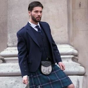 Men's Navy Blue Wool Kilt Jacket With Free Waistcoat Scottish Argyle Kilt Jacket