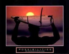 Surfing at Sunrise Possibilities Inspirational Motivational Poster Print