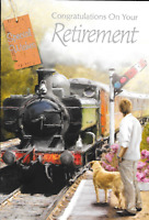 HAPPY RETIREMENT WISHES CARD,STEAM TRAIN THEME,MALE,TRADITIONAL ,MAN,DOG (B4