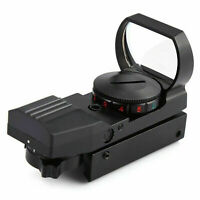 Red Dot Sight Reflex Green Holográfico Scope Tactical Rifle Mount 20mm Rails BLK