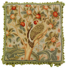 "20"" x 20"" Wool Needlepoint William Morris Bird and Cherries Pillow with Tassels"