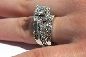 3.85CT Princess Cut Diamond Engagement Ring 14k White Gold Over For Mother's Day