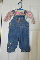 EUC OshKosh Girls size 6 months Blue Denim Overalls outfit with L/S Shirt